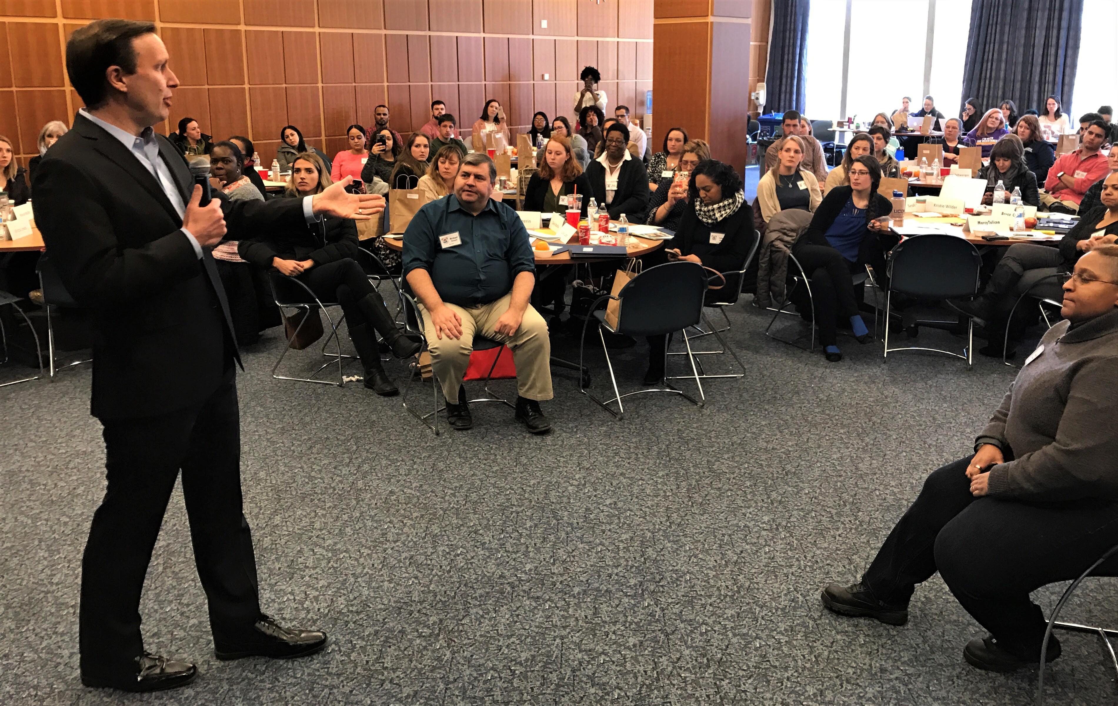 U.S. Sen Chris Murphy speaks to Campaign School participants