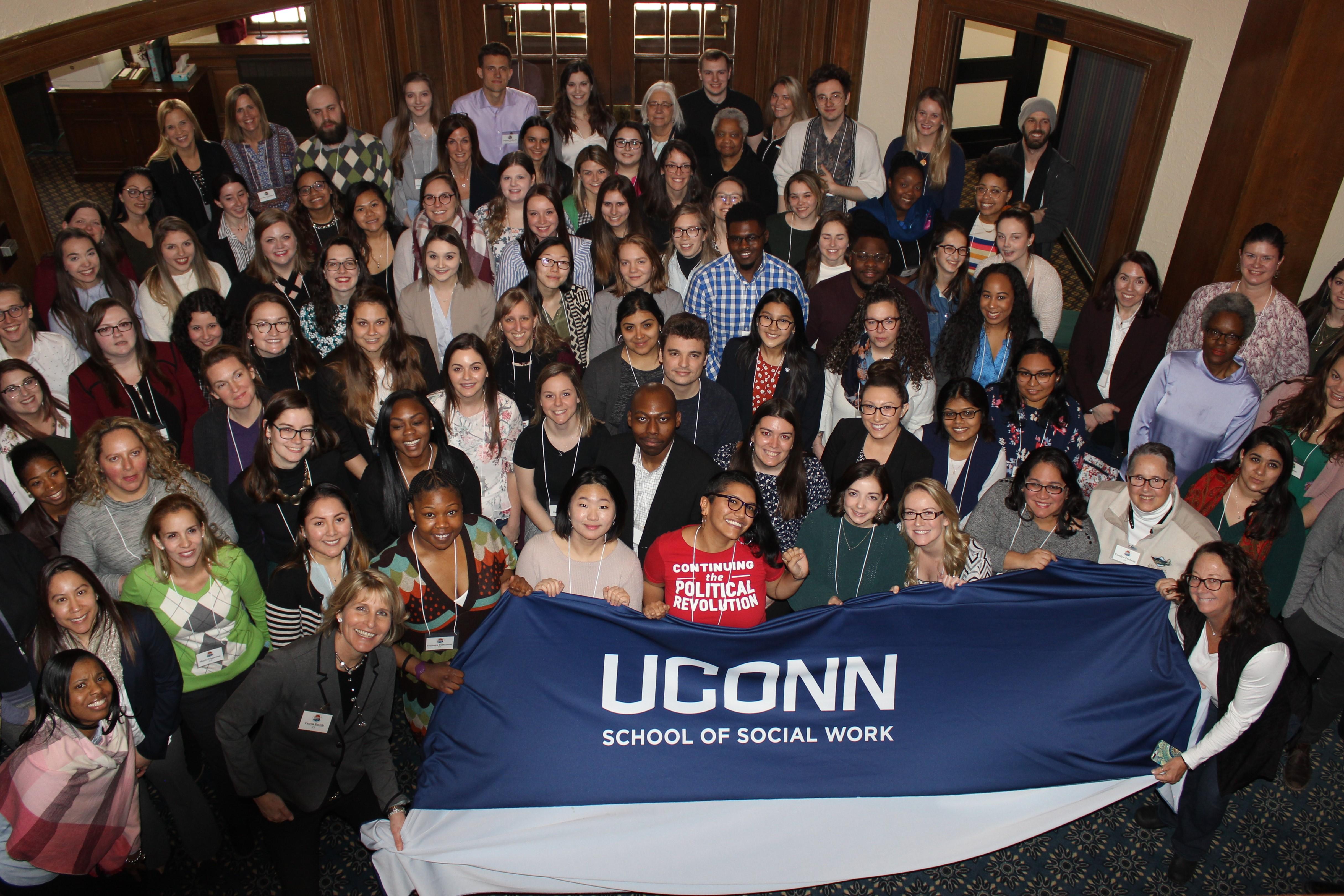 Large group photo of campaign school participants